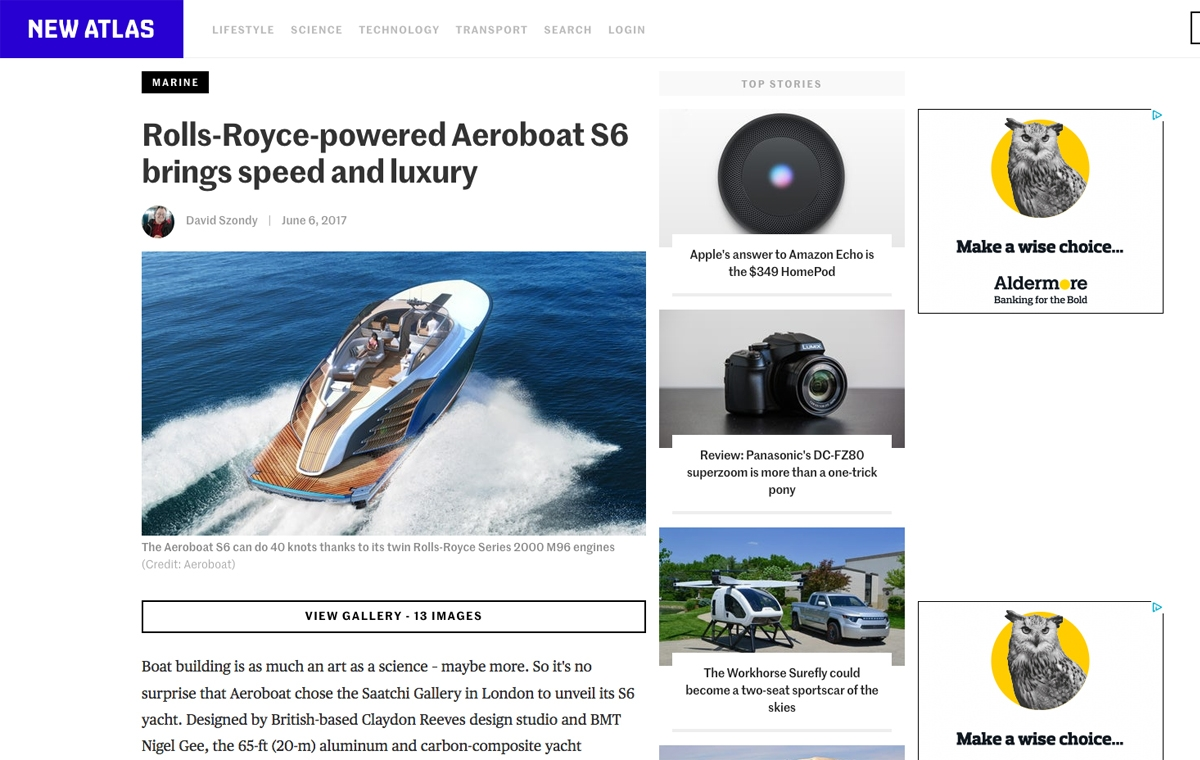 News image for Rolls-Royce-powered Aeroboat S6 brings speed and luxury