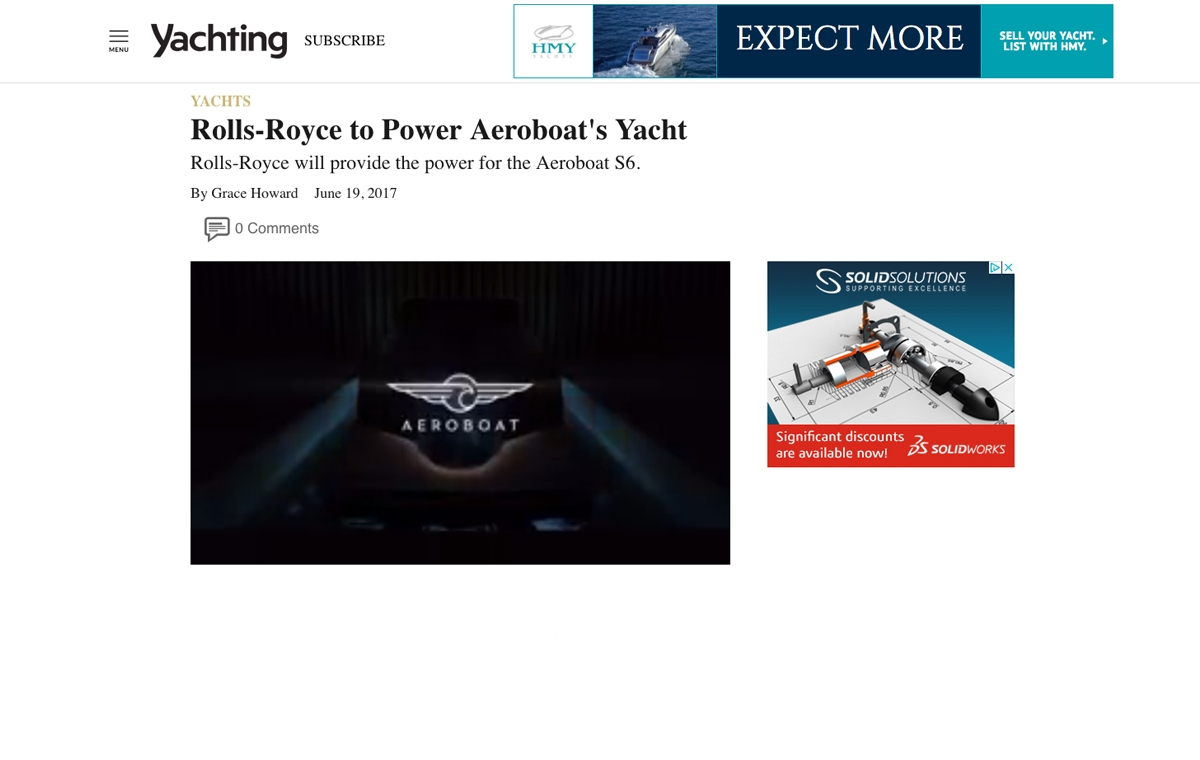 News image for Rolls-Royce to Power Aeroboat's Yacht