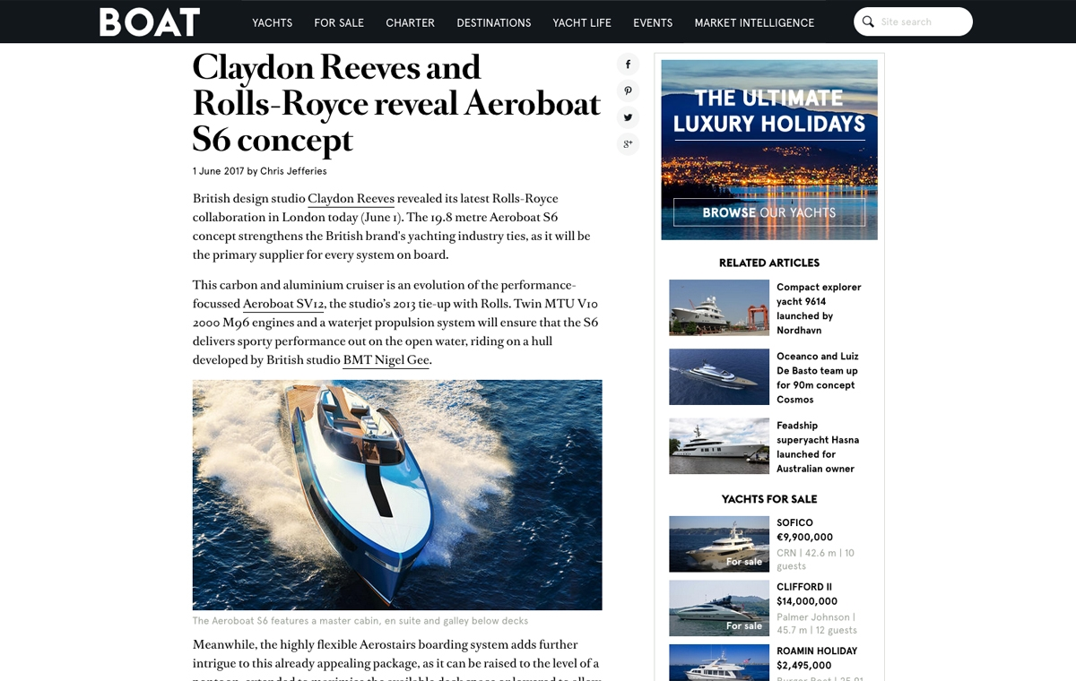 News image for Claydon Reeves and Rolls-Royce reveal Aeroboat S6 concept
