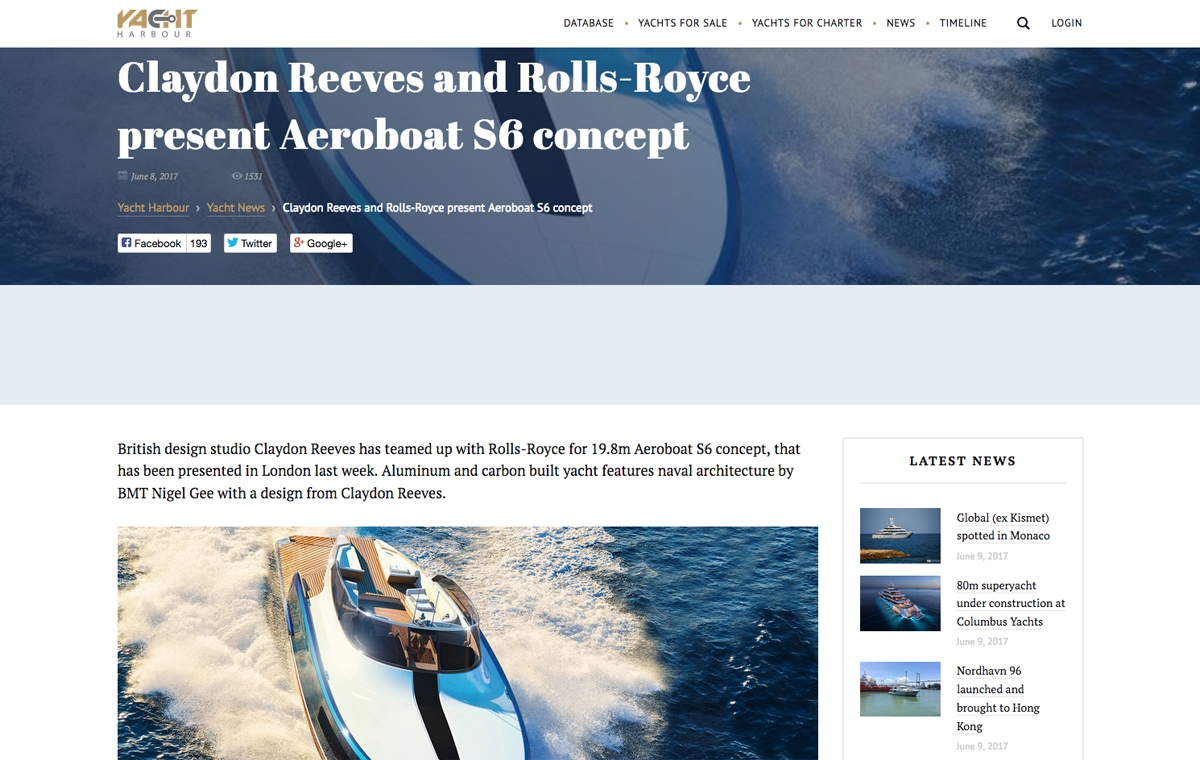News image for Claydon Reeves and Rolls-Royce present Aeroboat S6 concept